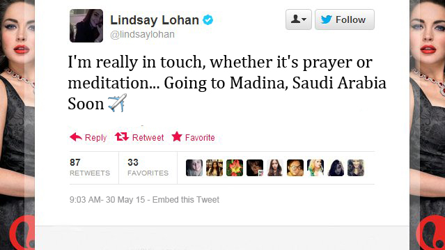 Lindsay-Lohan-Tweets- going to saudia