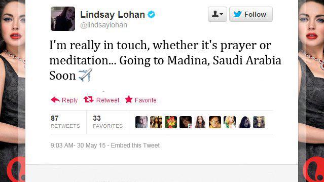 Lindsay-Lohan-Tweets- going to saudia