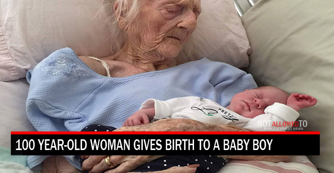 old woman gives birth