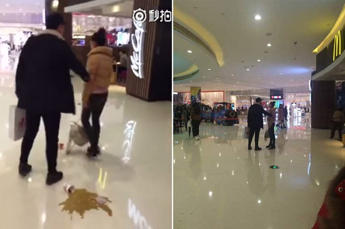 couple fight in shopping center