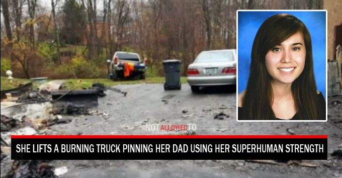 Jack For Lifted Truck >> Girl Lifts A Burning Truck To Save Her Dad Using Her ...