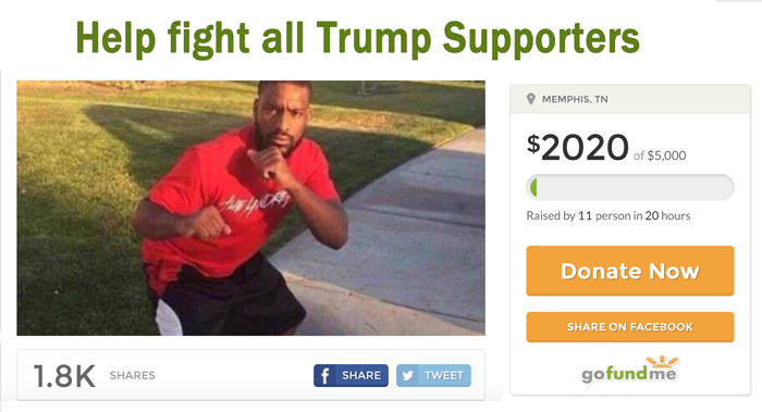 man starts gofundme page to help him fight trump supporters